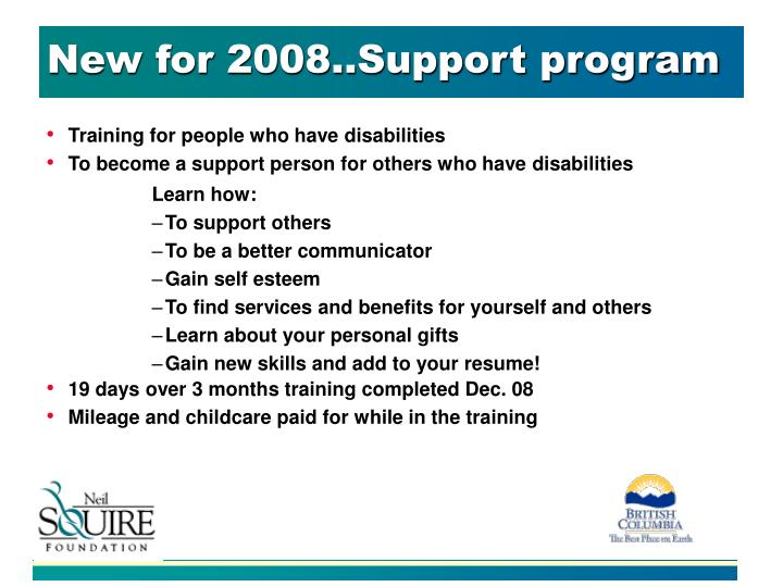 New for 2008..Support program