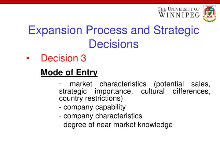 Expansion Process and Strategic Decisions