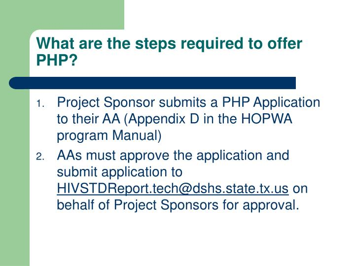 What are the steps required to offer PHP?