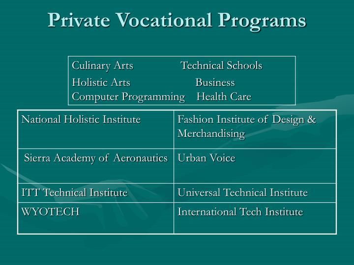 Private Vocational Programs