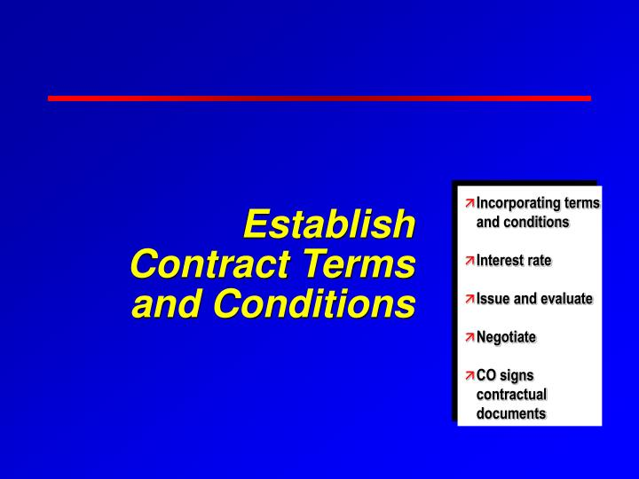 Establish Contract Terms and Conditions