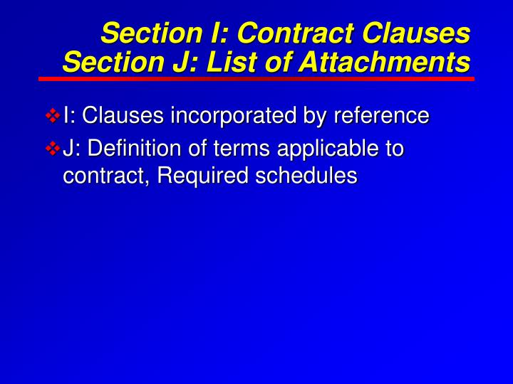 Section I: Contract Clauses
