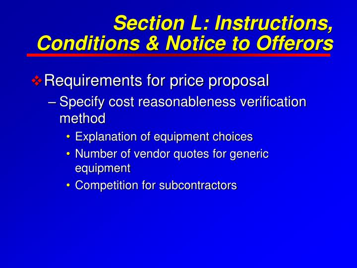 Section L: Instructions, Conditions & Notice to Offerors