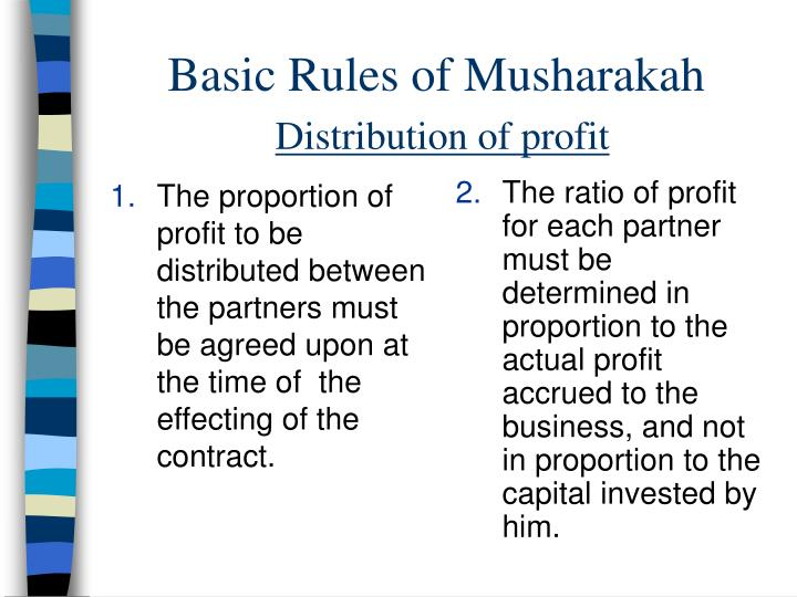 The proportion of profit to be distributed between the partners must be agreed upon at the time of  the effecting of the contract.