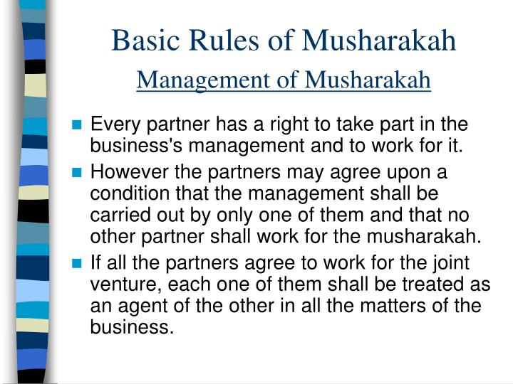 Basic Rules of Musharakah