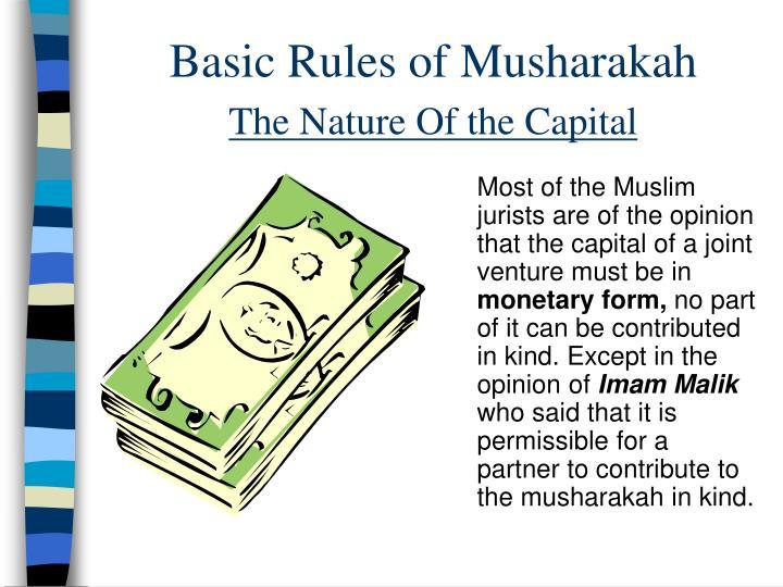 Basic Rules of Musharakah