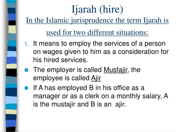 Ijarah (hire)
