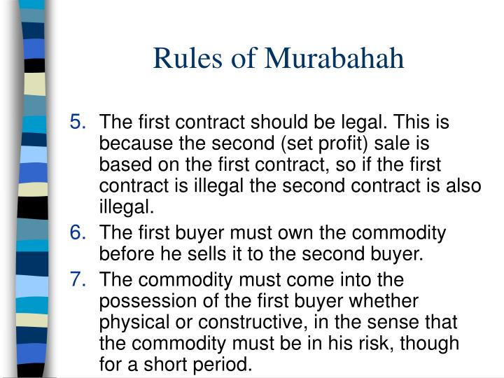 Rules of Murabahah
