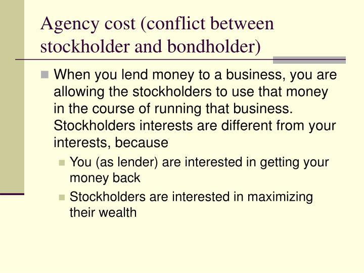 Agency cost (conflict between stockholder and bondholder)