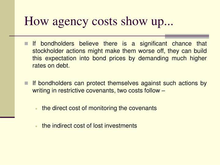 How agency costs show up...