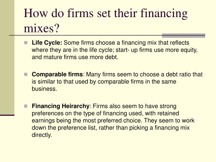 How do firms set their financing mixes?