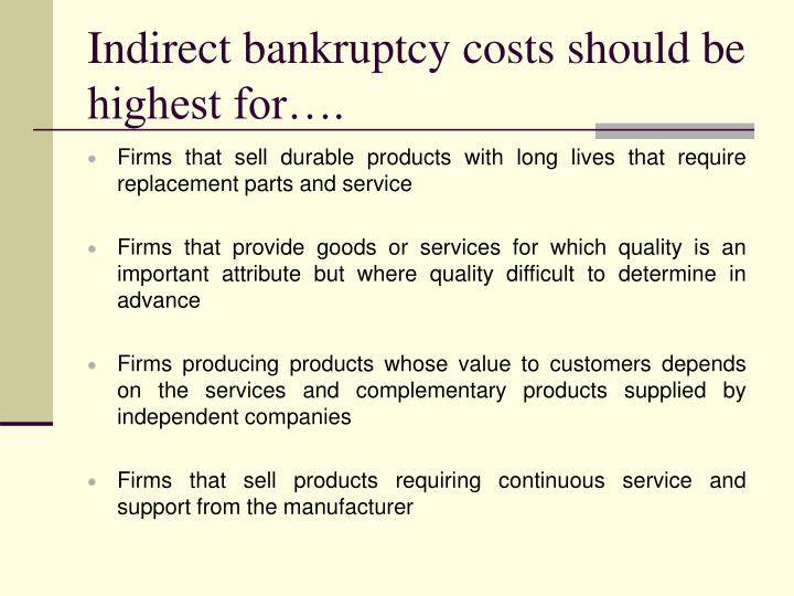 Indirect bankruptcy costs should be highest for….