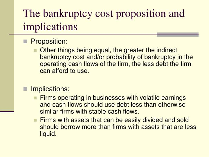 The bankruptcy cost proposition and implications