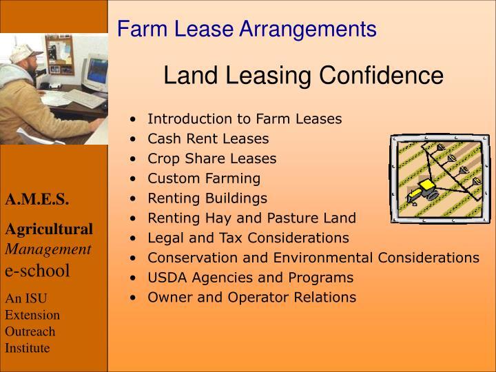 Farm Lease Arrangements