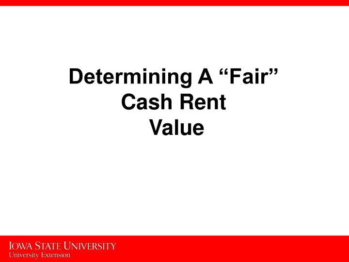 """Determining A """"Fair"""""""