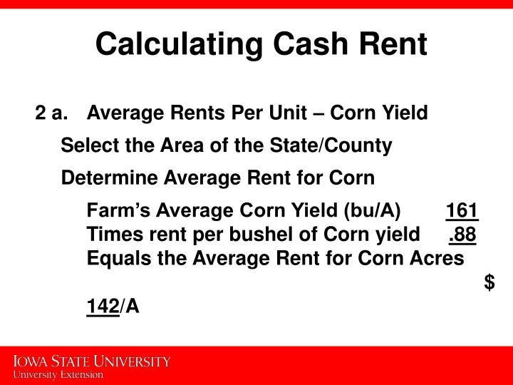 Calculating Cash Rent