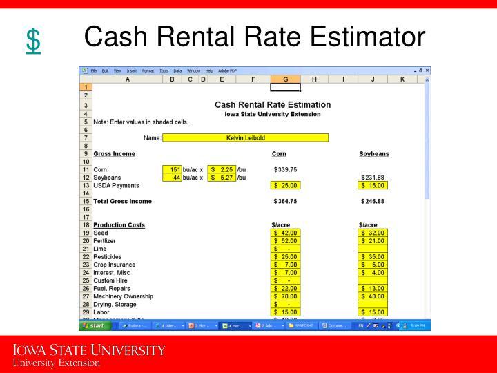 Cash Rental Rate Estimator