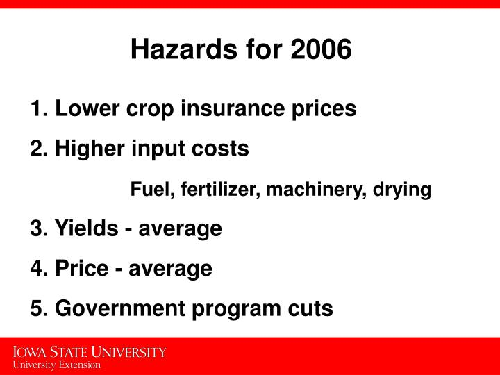 Hazards for 2006