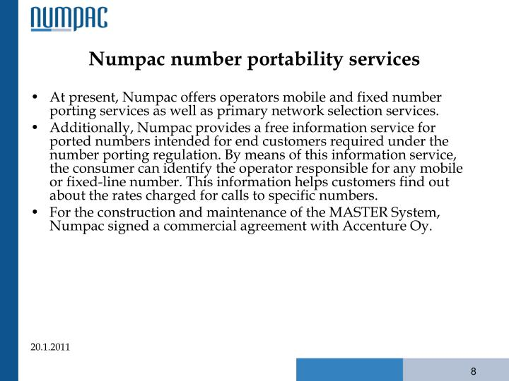Numpac number portability services