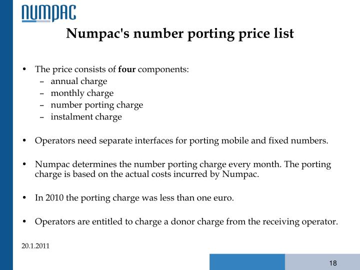 Numpac's number porting price list