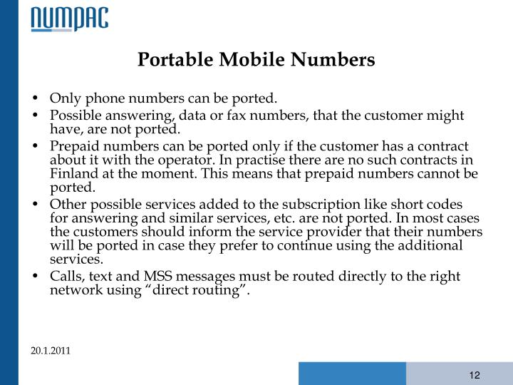Portable Mobile Numbers