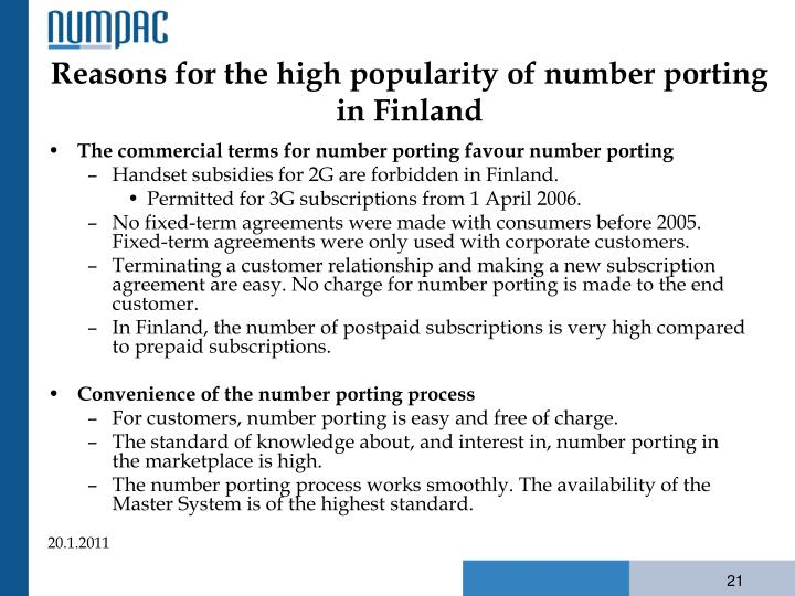 Reasons for the high popularity of number porting in Finland