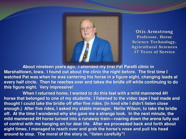 Otis armstrong professor horse science technology agricultural sciences 37 years of service