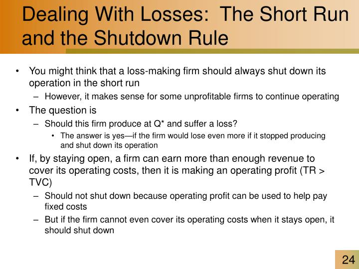 Dealing With Losses:  The Short Run and the Shutdown Rule