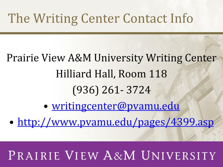 The Writing Center Contact Info