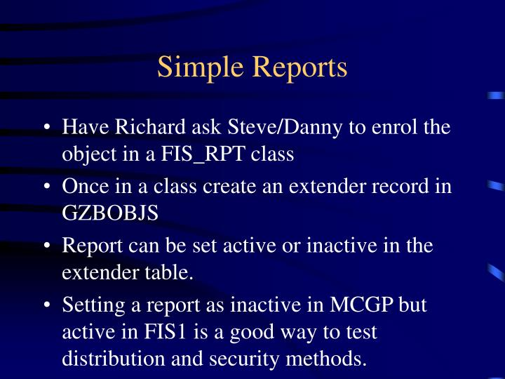 Simple Reports