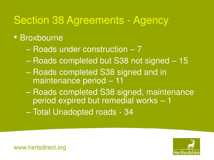 Section 38 Agreements - Agency