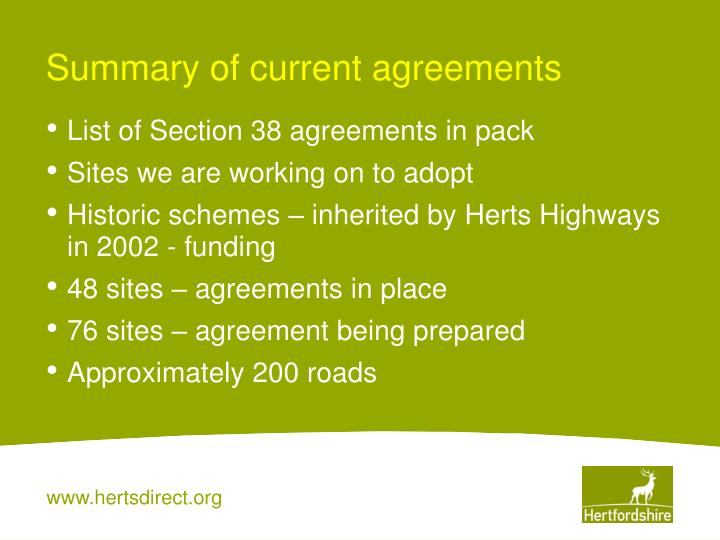 Summary of current agreements