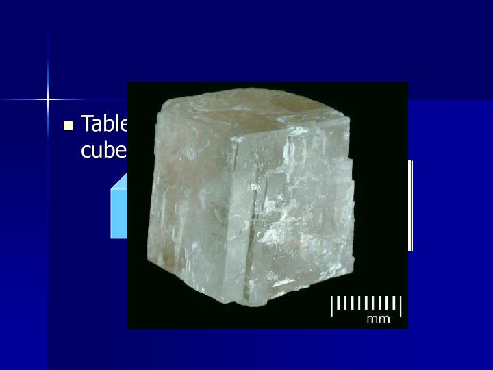 Table salt crystals are shaped like cubes.