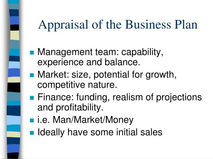 Appraisal of the Business Plan