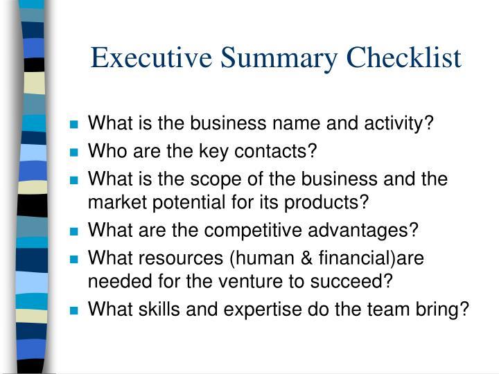Executive Summary Checklist