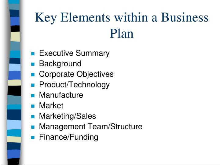 Key Elements within a Business Plan