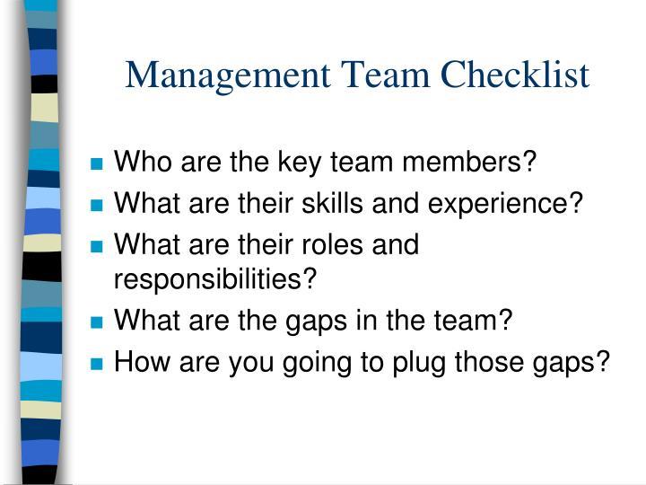 Management Team Checklist
