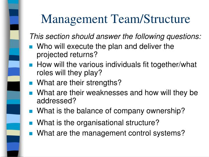 Management Team/Structure