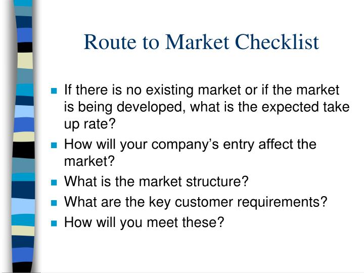 Route to Market Checklist