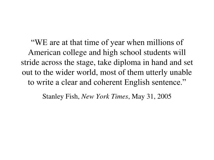 stanley fish new york times may 31 2005