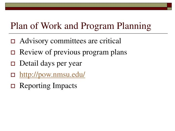 Plan of Work and Program Planning