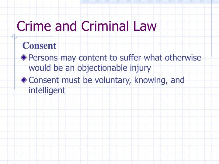 Crime and Criminal Law