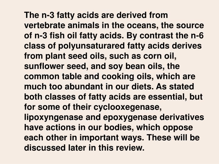 The n-3 fatty acids are derived from vertebrate animals in the oceans, the source of n-3 fish oil fatty acids. By contrast the n-6 class of polyunsaturared fatty acids derives from plant seed oils, such as corn oil, sunflower seed, and soy bean oils, the common table and cooking oils, which are much too abundant in our diets. As stated both classes of fatty acids are essential, but for some of their cyclooxegenase, lipoxyngenase and epoxygenase derivatives have actions in our bodies, which oppose each other in important ways. These will be discussed later in this review.