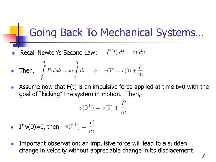 Going Back To Mechanical Systems…