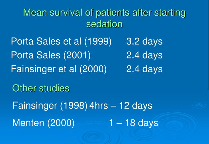 Mean survival of patients after starting sedation