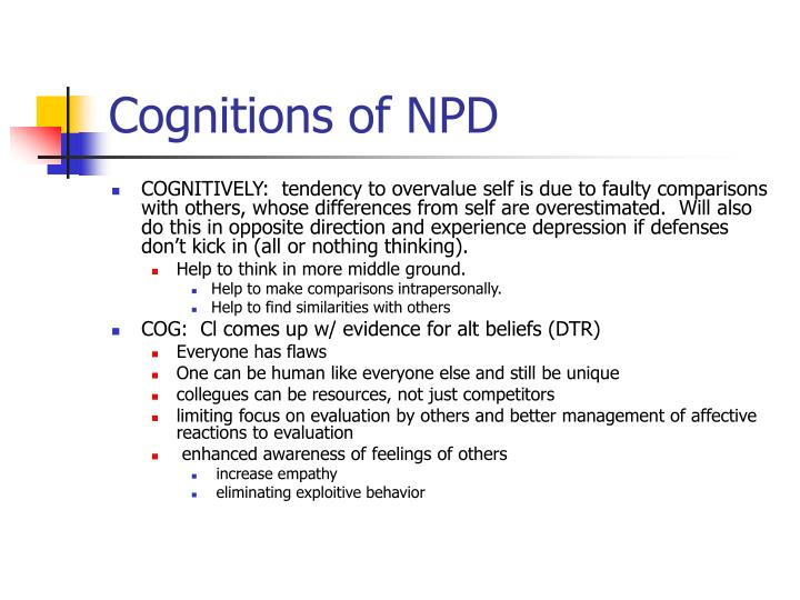 Cognitions of NPD