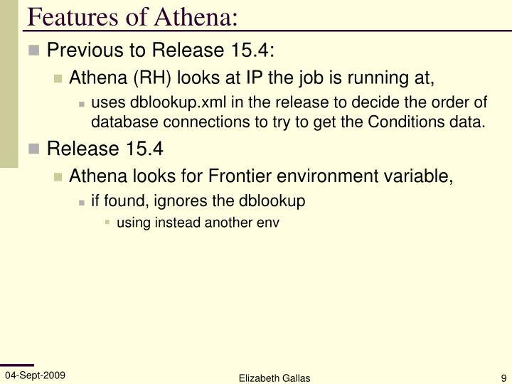 Features of Athena:
