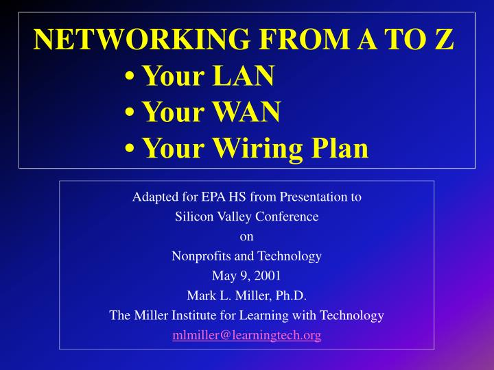 networking from a to z your lan your wan your wiring plan