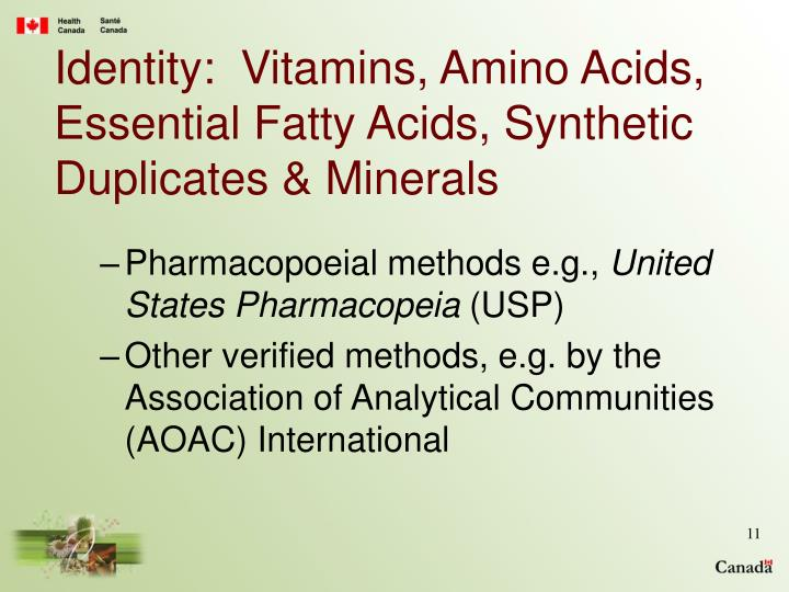 Identity:  Vitamins, Amino Acids, Essential Fatty Acids, Synthetic Duplicates & Minerals