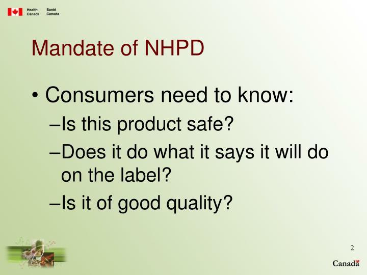 Mandate of NHPD